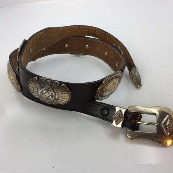 Vintage Justin Black Silver Concho Western Belt